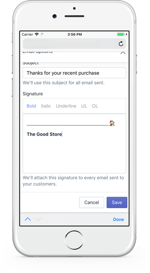 Signature mobile messaging view